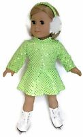 Doll Clothes Fits 18 Inch American Girl - Green Sequin Skating Dress & Earmuffs