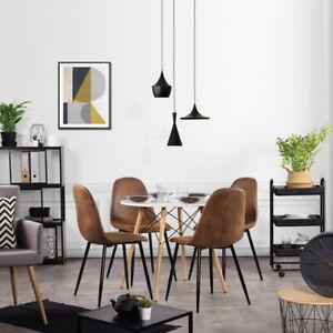 Détails sur 4PCS Style Scandinave Rétro suédine marron salon salle à manger  Chaises- afficher le titre d\'origine
