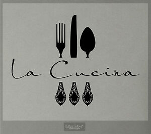 LA CUCINA WALL DECAL KITCHEN VINYL STICKER DECOR FORK SPOON KNIFE ...