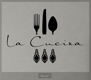 La cucina wall decal kitchen vinyl sticker decor fork for Stickers cucina