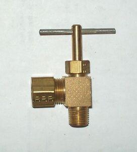 Parker NV104C-5-2 5/16 Tube x 1/8 NPT Brass Angle Needle Valve 10Pc