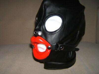 Sissy Lips in Red Red Spandex Gimp mask Pink eyes covered SizeM Black