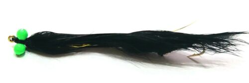 """3  Rutland 3/"""" Black HOT EYE SNAKE LURES Trout Flies by Iain Barr Fly Fishing"""