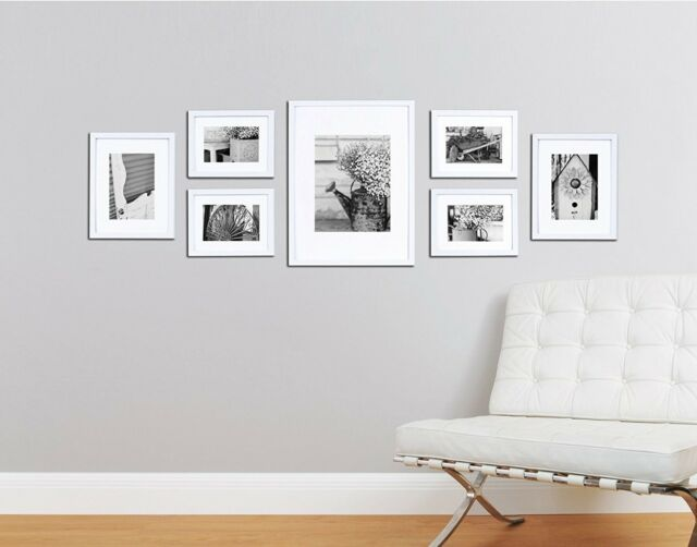 Wall Frame Set White 7 Picture Photo Gallery Solid Wood Frames Home ...