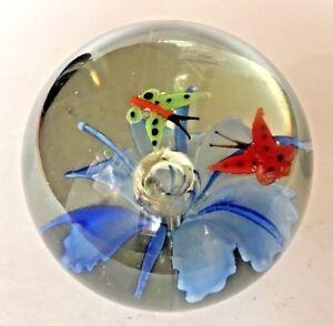 Art-Glass-Paperweight-Flower-w-Bubble-Center-2-Butterflies-Murano-Style
