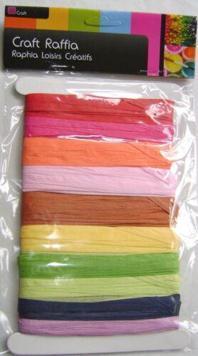 Nouveau ruban de papier raphia 20m 10 couleurs rose rouge vert bleu jaune sur carte st1743