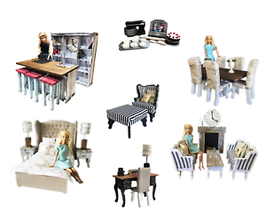 MiniMolly-Dollhouse-1-6-Barbie-Size-BUNDLE-Kitchen-Dining-Bed-Lounge-Chair-Desk