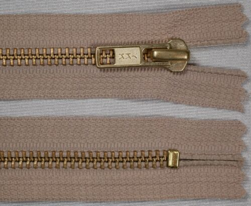 "5/"" 13cm beige YKK No.5 heavy duty gold metal CLOSED END ended auto lock jean zip"