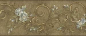 Wallpaper-Border-Leaf-Scroll-with-Blue-Flowers-On-Antique-Gold-Faux