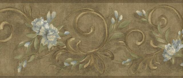 Wallpaper Border Leaf Scroll with Blue Flowers On Antique Gold Faux