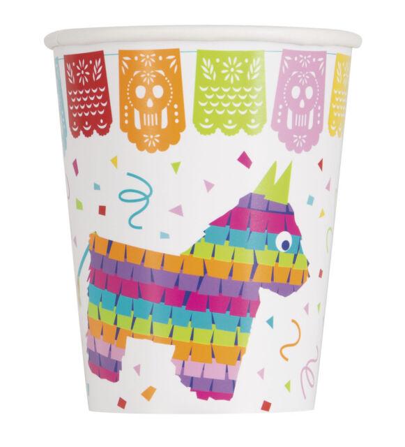 8 x Fiesta messicana festa bicchieri di carta accessori per Articoli la tavola
