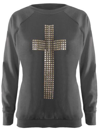 New Womens Long Sleeve Studded Sequin Sweat Shirt Jumper Tops 8-14