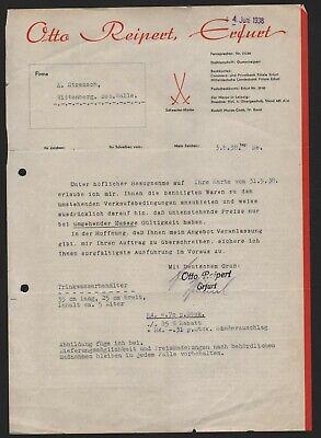 Erfurt, Brief + Prospekt 1937/38, Otto Reipert, Hier Einkochringe Klar Und Unverwechselbar