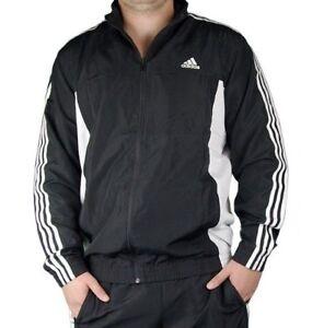 Details zu Herren Adidas Trainingsanzug Track Top Jacke Trainingsoberteil Jacken Schwarz