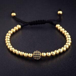 24K-Gold-Plated-Micro-Pave-New-Charm-Black-CZ-Bead-Braiding-Macrame-Men-Bracelet