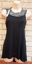 NEXT BEADED STUDDED NECKLINE BLACK PARTY LONG TOP TUNIC CAMI VEST BLOUSE 6 XS