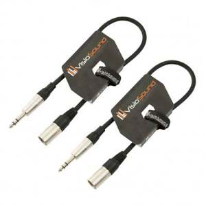 2-x-Male-XLR-to-6-35mm-Stereo-Jack-Lead-Balanced-Signal-Patch-Cable-2-Pack
