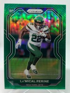 La'Mical Perine ROOKIE - 2020 Panini Prizm Green Prizm Card #357 New York Jets
