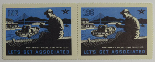 Two Poster Stamps / Cinderellas - Fishermen's Wharf, San Francisco California