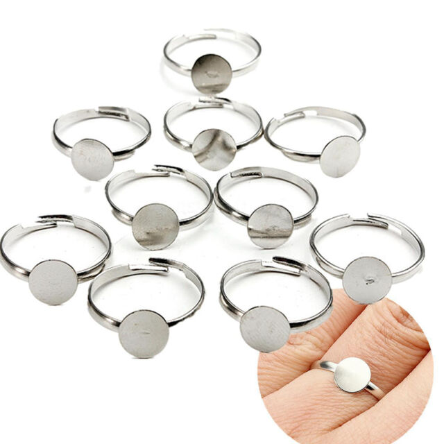 20PCS 8mm Silver Plated Adjustable Flat Ring Base Blank Jewelry Findings  HGUK