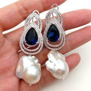 Cultured White Keshi PearlBlueCz Rhinestone Stud Earrings
