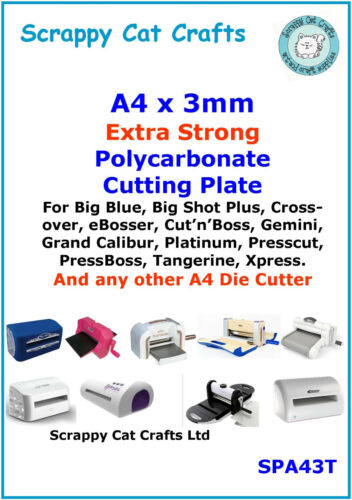 A4 x 3mm Extra Tough Cutting Plate by Scrappy Cat for eBosser SPA43T  3