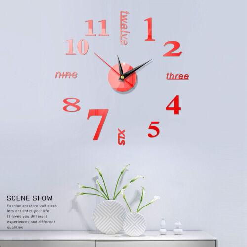 3D Large Wall Clock Frameless Mirror Number Sticker Modern Art Decal Decor US AG