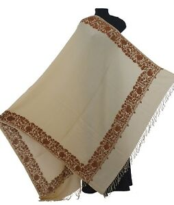 Beige-With-Brown-Paisley-Crewel-Embroidered-Wool-Shawl-Kashmir-Art-80-034-40-034-Wrap