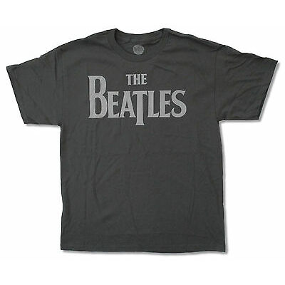 """THE BEATLES CLASSIC """"LOGO ON GREY"""" T-SHIRT NEW OFFICIAL ADULT"""
