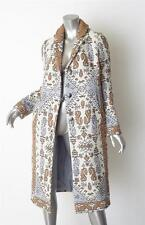 TORY BURCH $1290 Womens LISBON Ivory+Blue Jacquard Long Coat Jacket 2/XS NEW NWT