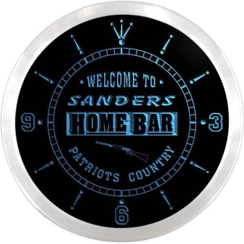 ncx1075-tm Sanders Home Bar Beer Custom Name Neon Sign Clock