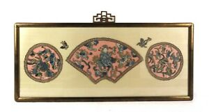 Vintage Mid Century Chinese Textile Applique Embroidery Art Wall Hanging