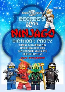 Personalised lego ninjago birthday party invitation ninjago thank image is loading personalised lego ninjago birthday party invitation amp ninjago stopboris Images
