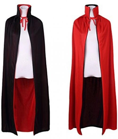 WESTLINK Cloak with Hood Costume Hooded Cape 35-55inches Black Red Reversible