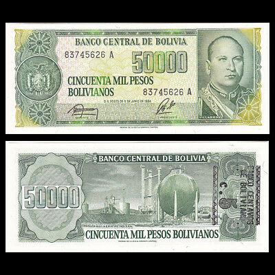 Bolivia 5 on 50,000 Pesos Bolivianos UNC P-196 1987