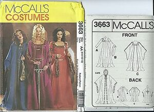 Details about M 3663 sewing pattern MEDIEVAL DRESS Gown CAPE Cloak COSTUME  sew 6,8,10,12 UNCUT