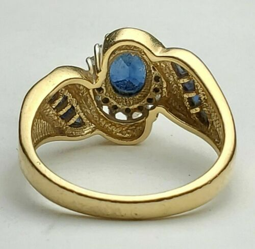 14K Yellow Gold Finish 1.84CT Oval Cut Blue Sapphire Engagement Wedding Ring