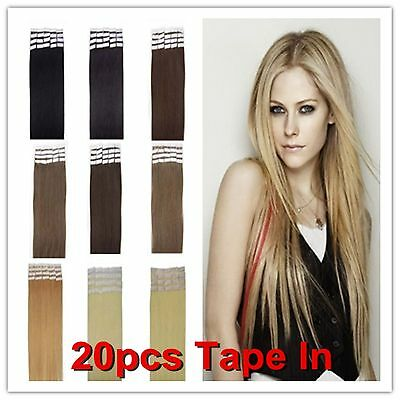 """16""""18"""" 20"""" 22"""" 24"""" 26"""" PU Tape In remy straight 100% human hair extensions 20pcs"""