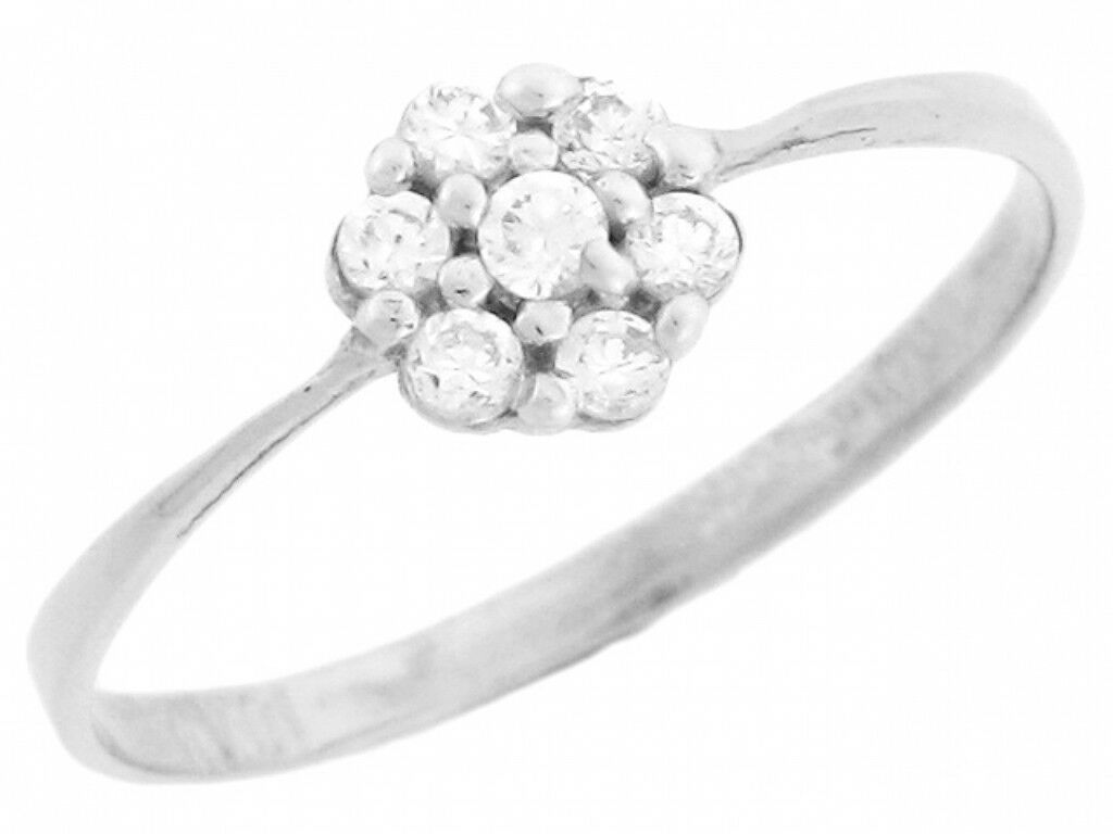 10k or 14k White gold Fancy Cluster Round Cut Diamonds Promise Ring