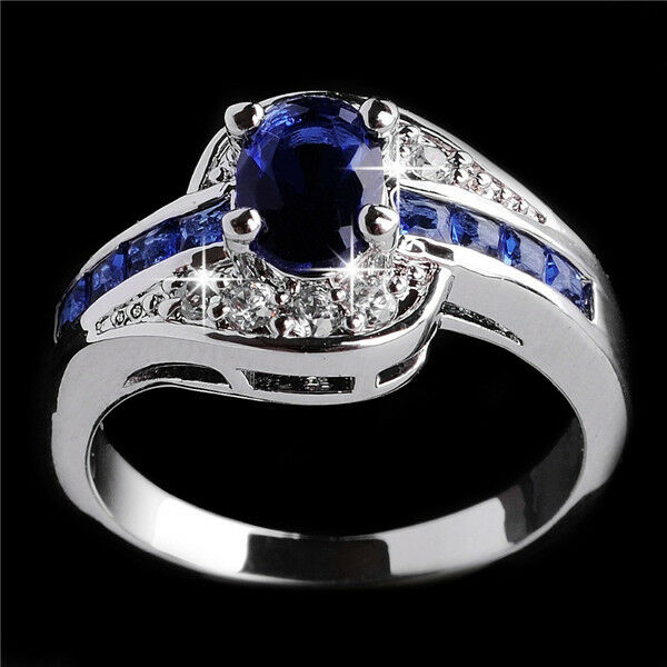 Jewelry Women Blue Sapphire 10Kt White Gold Filled Engagement Ring Sz 6,7,8,9,10