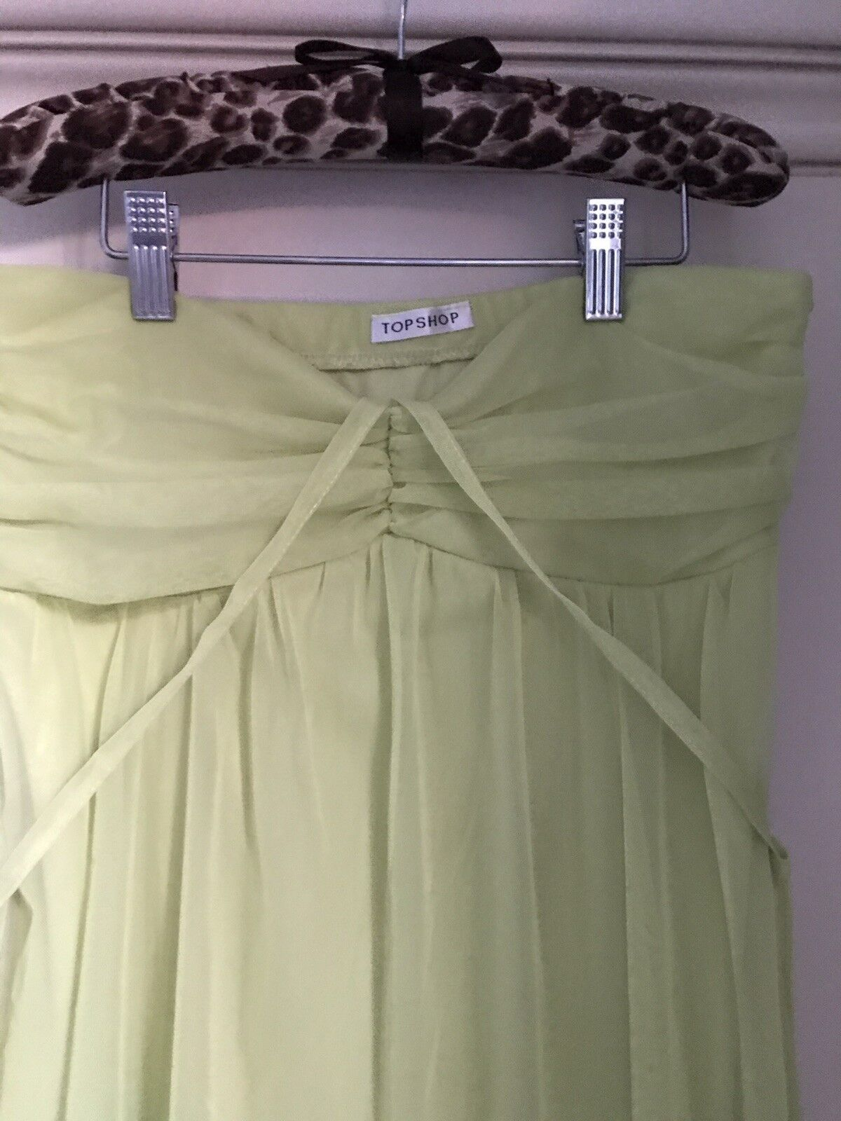 Top Shop , On Trend Colour Lime ,Strapless Tulle Dress, Size 12