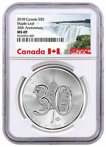 2018-Canada-1-oz-Silver-Maple-Leaf-30th-Anniv-5-Coin-NGC-MS69-SKU52889