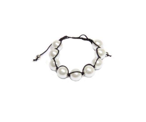 """ajustable Bracelet  /"""" Shamballa/""""cordon noir et perles de verre 15mm blanc"""