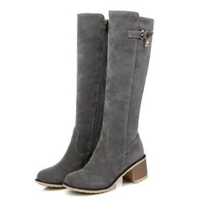 Women-Round-Toe-Knee-High-Boots-Med-Block-Heel-Suede-Buckle-Zipper-Casual-Shoes