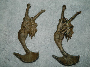 "Set/2 Cast Iron 7"" Mermaid Wall Coat Towel Hook Nautical Sea Boat Decor"