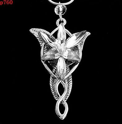 Vintage Lord of the Rings Movie Arwen Evenstar Silver tone Pendant Necklace 1pc
