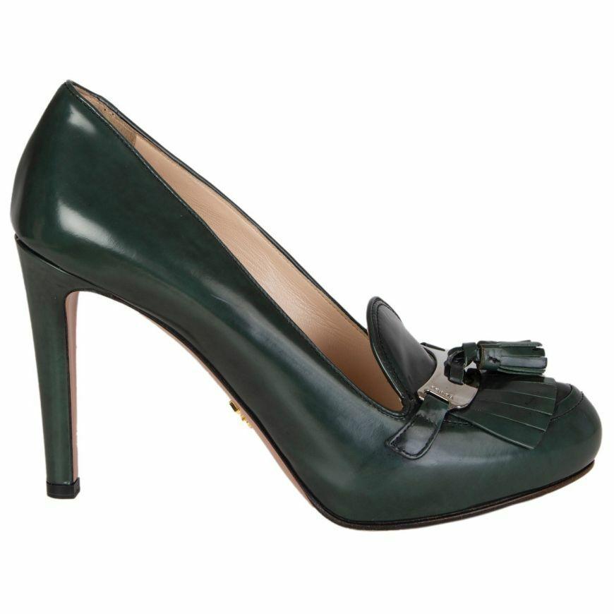 56878 auth PRADA pine green leather FRINGE TASSEL LOAFER Pumps shoes 40