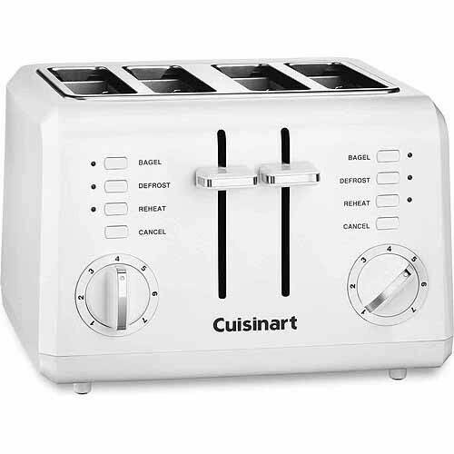 Slice Compact Electric Cool Touch Pad Control Plastic White Bread Toaster CPT142