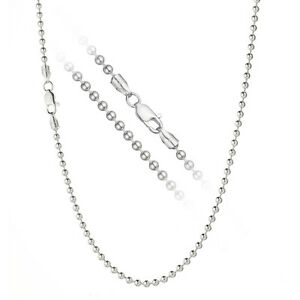 d100d85a9e767 Details about Solid 925 Sterling Silver 3mm Italian Ball Bead Chain Dog Tag  Necklace ALL SIZES