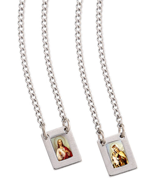 filled necklace loading sacred carmel image mount itm our gold madonna lady is scapular s jesus medal heart